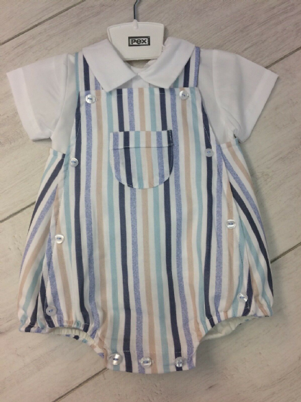Striped Romper and Shirt Set